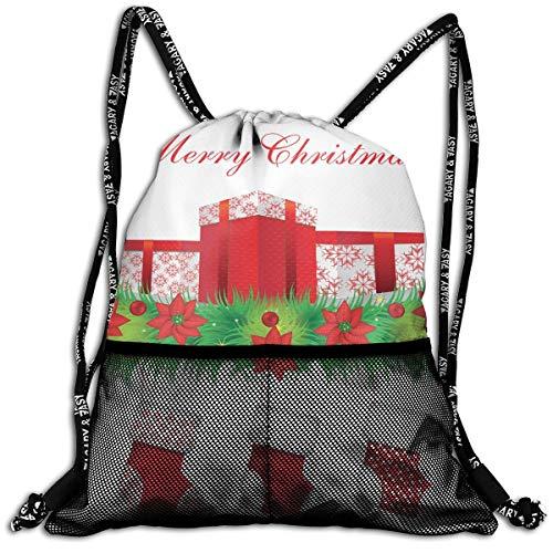 RAINNY Drawstring Backpacks Bags,Stockings Hanging for Santa Mistletoe Illustration Merry Christmas for All,5 Liter Capacity,Adjustable