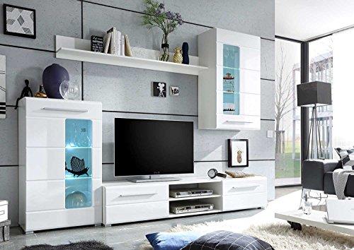 Wohnwand Anbauwand Wohnzimmerschrank 4-tlg. ELLA | Weiß Hochglanz | Verglasung - 4