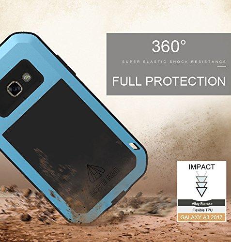 Galaxy A5 2017 Hülle, Love mei Mächtig Leistungsstarke Schwerlast Hybride Aluminium Metall Rüstung Stoßfest Schmutzabweisend Staubdicht Case für Samsung Galaxy A520 mit Hartglas (Weiß) Schwarz