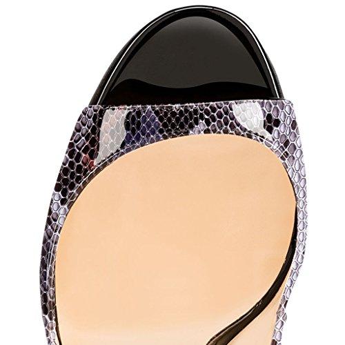 EDEFS Damenschuhe 120mm Peep Toe Slingback High Heels Sandalen mit Schnalle Öffnen Zehe Stiletto Schuhe Python-Purple