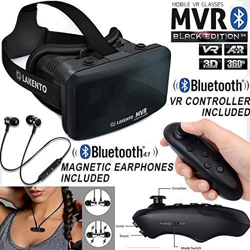 Gafas VR con Mando Bluetooth + Auriculares inalámbricos LAKENTO MVR v4 Gafas de Realidad Virtual con Joystick Android e iOS (Juegos iCade)+Auriculares Bluetooth 4.1 + Juegos Gratis