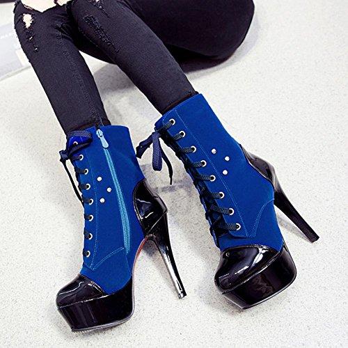 Mee Shoes Damen modern Nubukleder Plateau mit Schnürsenkel Reißverschluss Trichterabsatz Stiefel Blau