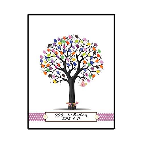 Unterschrift Gästebuch Baum Segeltuch Drucke DIY Personalisiert Angepasst Anmelden Groß Botanisch Gemälde Hochzeit Abschluss Geschenk Geburtstag Party Souvenir Zubehör,40 * 60Cm ()