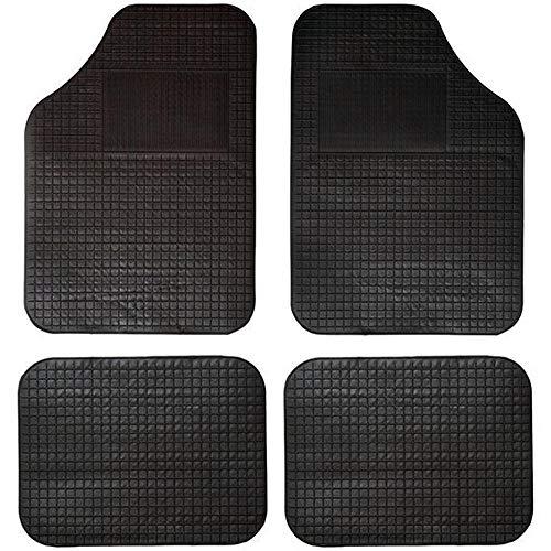 TradeShopTraesio® Set 4Auto-Fußmatten aus Gummi und PVC formbar Universal Boden gepunkteten Schwarz