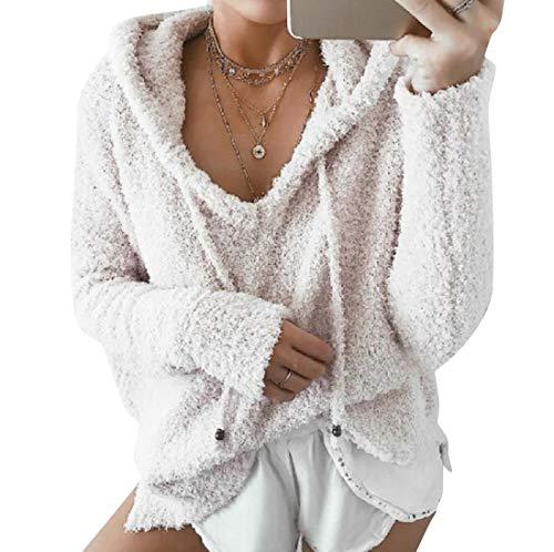 CuteRose Womens Hooded Classic Drawstring Fall Winter Worsted Coat Hoodies White 2XL (Womens Hoodie-xxl Aeropostale)