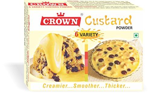 Crown (6-in-1) Custard Powder, 300g- 150g x Pack of 2 (150g = 25g x 6 Flavors each :Vanilla, Raspberry, Pineapple, Strawberry, Mango, Orange)