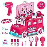 HERSITY Autobus da Trucco Giocattolo Kit di Bellezza Gioielli Bambina Set di Trucchi Gioco di Ruolo per Bambini