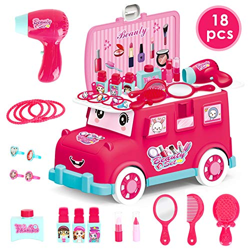 HERSITY Set de Belleza Peluqueria de Juguete Joyería Maquillaje Juego de rol Regalos para Niñas Niños Princesa Rosa