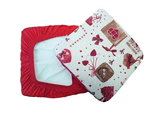 Takestop® set 6 coprisedia cuscini rosso panna fiocco cuori con fascia elastico cuscino per sedie imbottito sfoderabile shabby chic
