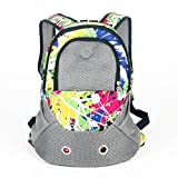 SRI Breathable Mesh Front Bag Head Out Design Double Shoulder Padded Bike Hiking Outdoor Pet Carrier Printed Backpack Bag For Puppy And Cat (COLORFUL PAINTING)