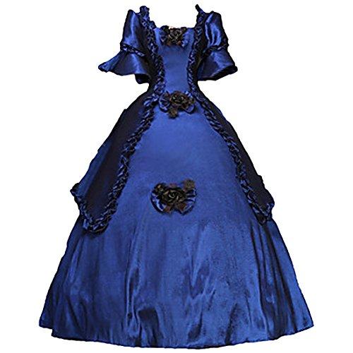 Partiss Damen Kurzarm Blumen Sweet klassisches traditionelles Punk Lolita Kleider,L,Blue