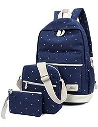 Preisvergleich für Hosaire 3x Backpack-Set Multifunktionales Segeltuch Schulterbeutel Rucksack Schüler Tasche Kinder Brieftasche...