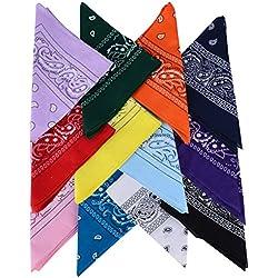 (100% Algodón) Pack 12 pcs Pañuelos Bandanas de Modelo de Paisleypara Cuello / Cabeza - Multicolor