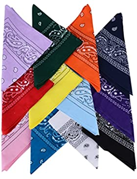 Pack de 12(100% Algodón) Pañuelos Bandanas de Modelo de Paisley para Cuello / Cabeza Multicolor Múltiple para...