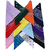 QUMAO Pack de4 / 6/12(100% Algodón) Pañuelos Bandanas de Modelo de Paisley para Cuello/Cabeza Multicolor Múltiple para Mujer y Hombre