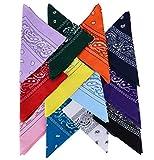 QUMAO (100% Cotone) 12 pz Bandane Multicolori per Capelli al Collo in Testa Modelli di Paisley Bandana Uomo Sciarpa Fazzoletti da Taschino (12 pz multicolori)