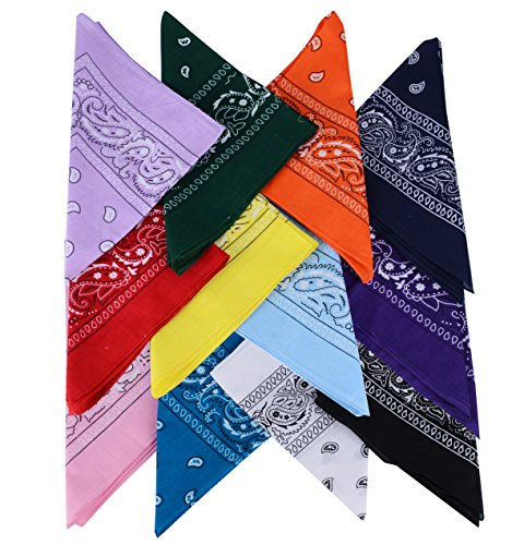 QUMAO Pack de 12(100% Algodón) Pañuelos Bandanas de Modelo de Paisley para...