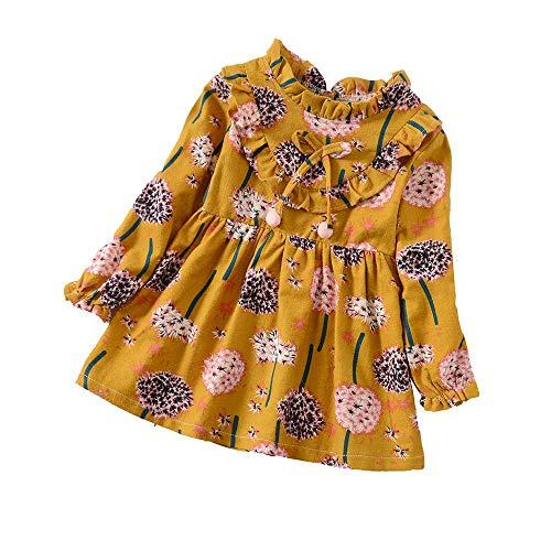 (YWLINK MäDchen RüSchen Lange ÄRmel Süß LöWenzahn Blume Drucken Kleidung OutfitsMode Freizeit Urlaub Kleidung (Gelb,4XL))