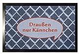 i.stHOME Fußmatte mit Spruch Draußen nur Kännchen - Fußabtreter waschbar 40 x 60 cm