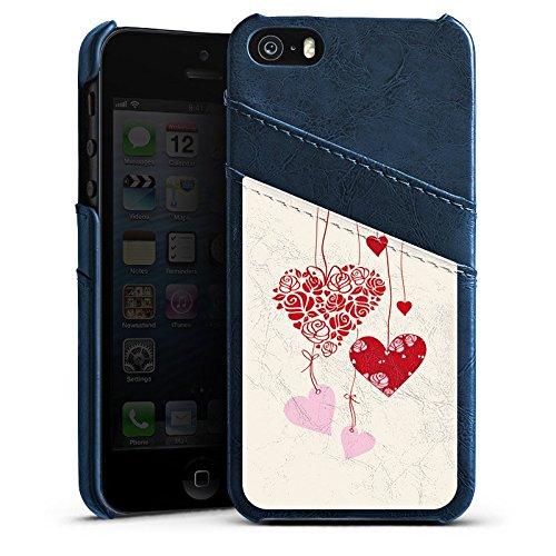 Apple iPhone 5s Housse étui coque protection C½urs Amour Amour Étui en cuir bleu marine