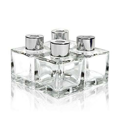 Frandy House Diffusor-Flaschen / Raumduftverteiler, aus Glas, mit Kappen, quadratische Form, Höhe: je 10cm, 50ml Fassungsvermögen, 4 Stück - Höhe Form