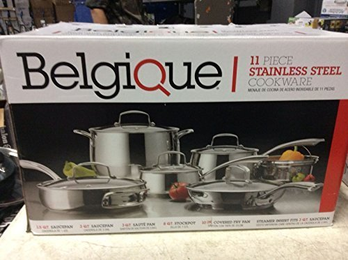 Belgique Stainless Steel Cookware, 11 Piece Set by Belgique