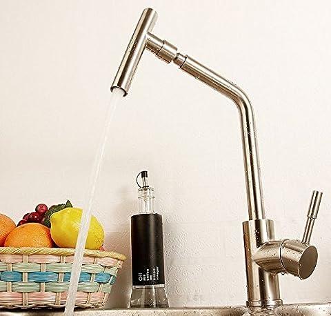 Acier inoxydable UHM304 Robinet de cuisine mélangeur froide chaude du robinet nickel brossé-0525-2