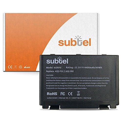 subtel® Batterie premium (4400mAh) compatible avec ASUS F52 / F82 / K40 / K50 / K51 / K60 / K61 / K70 / P50 / P81 / Pro5C A32-F52 / A32-F82 Batterie de recharge, ordinateur Accu remplacement