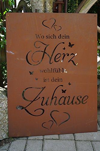 Edelrost Tafel Herz groß 80cm Spruch Garten Metall Rost Schild Geschenk Deko
