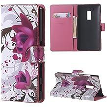 OnePlus 2 Funda de Cuero,PU Cuero Cartera Funda para OnePlus 2 (OnePlus TWO) Case Cover con soporte-Flores de color púrpura