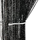 AIZESI Gardinen Küche Fadenvorhang Schwarz für Schiebegardine,Vorhänge Funkelnd Silber Fadengardine Verdunklungsvorhänge Schiebevorhänge(Black)