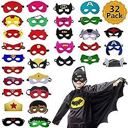 Ventdest Máscaras de Superhéroe, Suministros de Fiesta de Superhéroes, Máscaras de Cosplay de Superhéroe, Máscaras de Media Fiesta para Niños o Niños Mayores de 3 Años - 32 Piezas