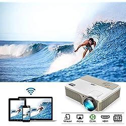 3800 Lumen HD Vidéoprojecteur WiFi Projecteur Cinéma LED Android Projector pour iPhone TV DVD Mac PS4 Chromecast Jeux Video Films