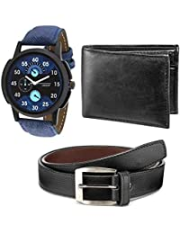 Holboro Classic Combo For Men's Genuine High Quality Mens PU Leather Wallet, Black Belt & Origin Watch