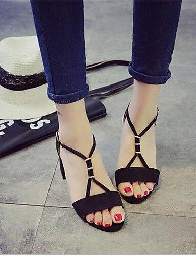 WSS 2016 Chaussures Femme-Décontracté-Noir / Gris-Gros Talon-Talons-Chaussures à Talons-Polyuréthane black-us7.5 / eu38 / uk5.5 / cn38