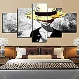 Segeltuch HD-Drucke Bilder Wandkunst 5 Stücke One Piece D. Ruffy Gemälde Anime Poster Wohnzimmer Modular Rahmen,B,30×50×2+30×70×2+30×80×1
