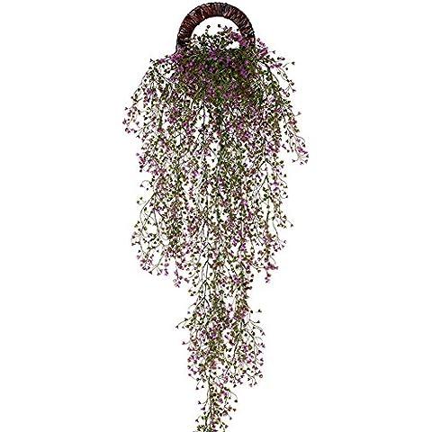 Remeehi follaje Artificial flores Vine ratán guirnalda plantas de hojas colgante de pared de boda Sala de estar balcón decoración, Morado, 1