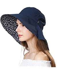 e4aceb06a3802 SiggiHat Womens UPF 50 Cotton Sun Hats Packable Wide Brim Bucket Hat for  Fishing Hiking with Neck Flap Protection Chin Strap 55…