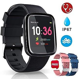 Smartwatch Reloj Inteligente Deportivo Pulsera Actividad Inteligente IP67 Duración Batería 10-15 días 1.3» a Color Cronómetro Podómetro Monitor de Calorías y Sueño SMS SNS para iOS y Android
