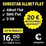 congstar Allnet Flat, SIM, Micro-SIM und Nano-SIM, 24 Monate Laufzeit (16,00 Euro/Monat, 3 GB Datenflat mit max. 25 Mbit/s, Allnet Flat und SMS Flat) in bester D-Netz-Qualität