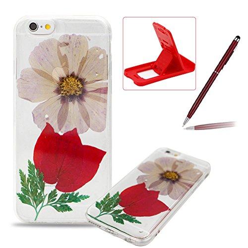 iPhone 6S Plus Hülle Weiches Silikon Gummi Schutz Case,iPhone 6 Plus Stilvoll Elegant Ultra Slim Dünn Passt Perfekt [ Echt Getrocknete Blumen Gepresste ] Klar Kristall Handyhülle,TPU Leicht Mode Soft  Rot Azalee Blumen