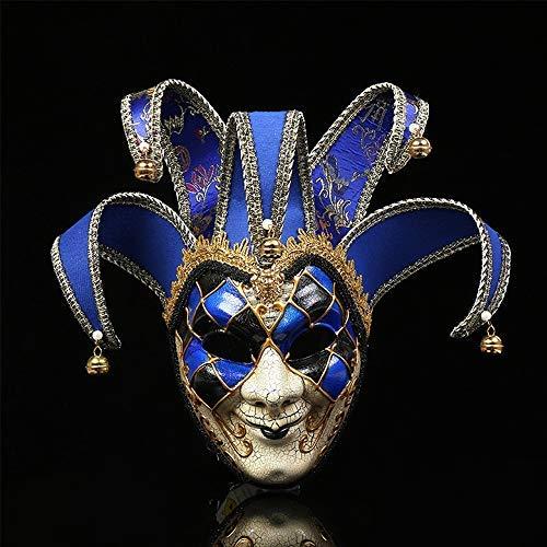 Mikepie maschera veneziana carnevale, retro maschera di smiley clown, per partito di halloween, natale travestimento maschera, uomo e donna blu