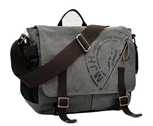 E-Bestar Herren Canvas Handtasche Canvas Tasche Herren Umhängetasche Herren Schultertasche Vintage Herren Aktentasche Handgepäck (grau)
