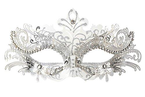 Coxeer Damen Maskerade Maske Schmetterling Form Laser Schneiden Metall Karneval Maske Rosenmontag (Black & Silver)