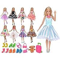 ebuddy Random Style 5pc Barbie Dress and 10pc Accessories Set For Barbie Doll