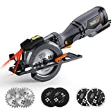 Circular Saw 710W 3500 RMP, Tacklife TCS115A Compact Electric Saw with Laser Guide, 6 Blades for Various Materials, Adjustable Cutting Depth 0-43mm and Bevel Angle(0-45 °)