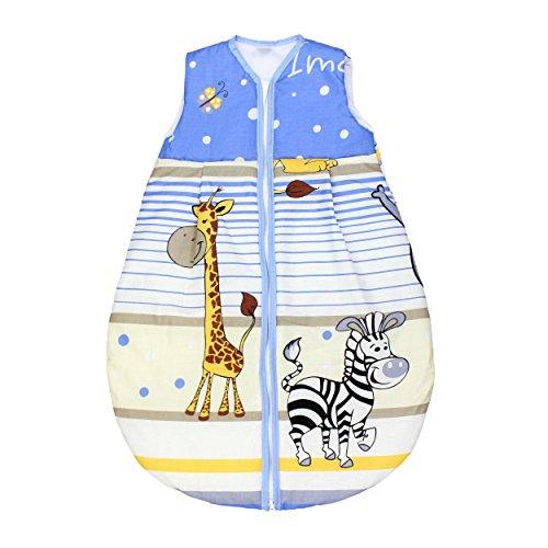 Babyschlafsack ohne ärmel Kinderschlafsack Wattierter Baby Schlafsack Eulen Giraffe Elefanten, Farbe: Imagine Blau, Größe: 62-74