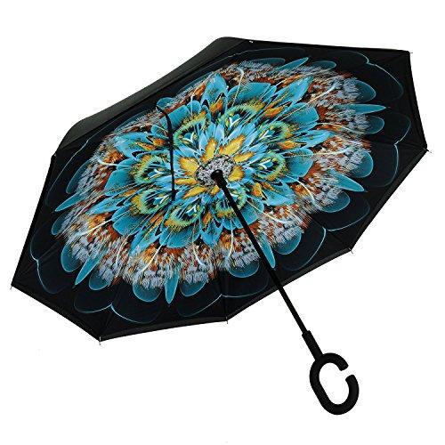 RGTOPONE Tissu Double Couche Parapluie Inversé Séchage Rapide Mains Libres Parapluies Protection Uv Résistant Au Vent Gros Pour La Voiture Voyage En Plein Air, Conception De Nervures Renforcées