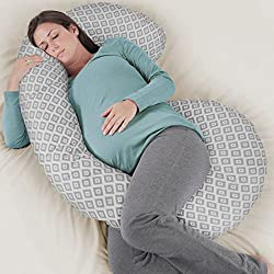 Rabitat Total Body Pregnancy Pillow with Jersey Cover - The Worlds Most Comfortable Maternity / Pregnancy cushion - With Zipper - Full Contoured Snuggle Support System. (Grey)
