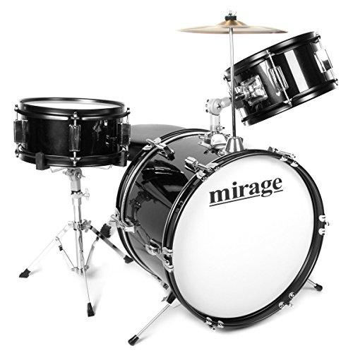 1. Mirage JDK 3 Piece Junior Drum Kit With Stool and Sticks - Black